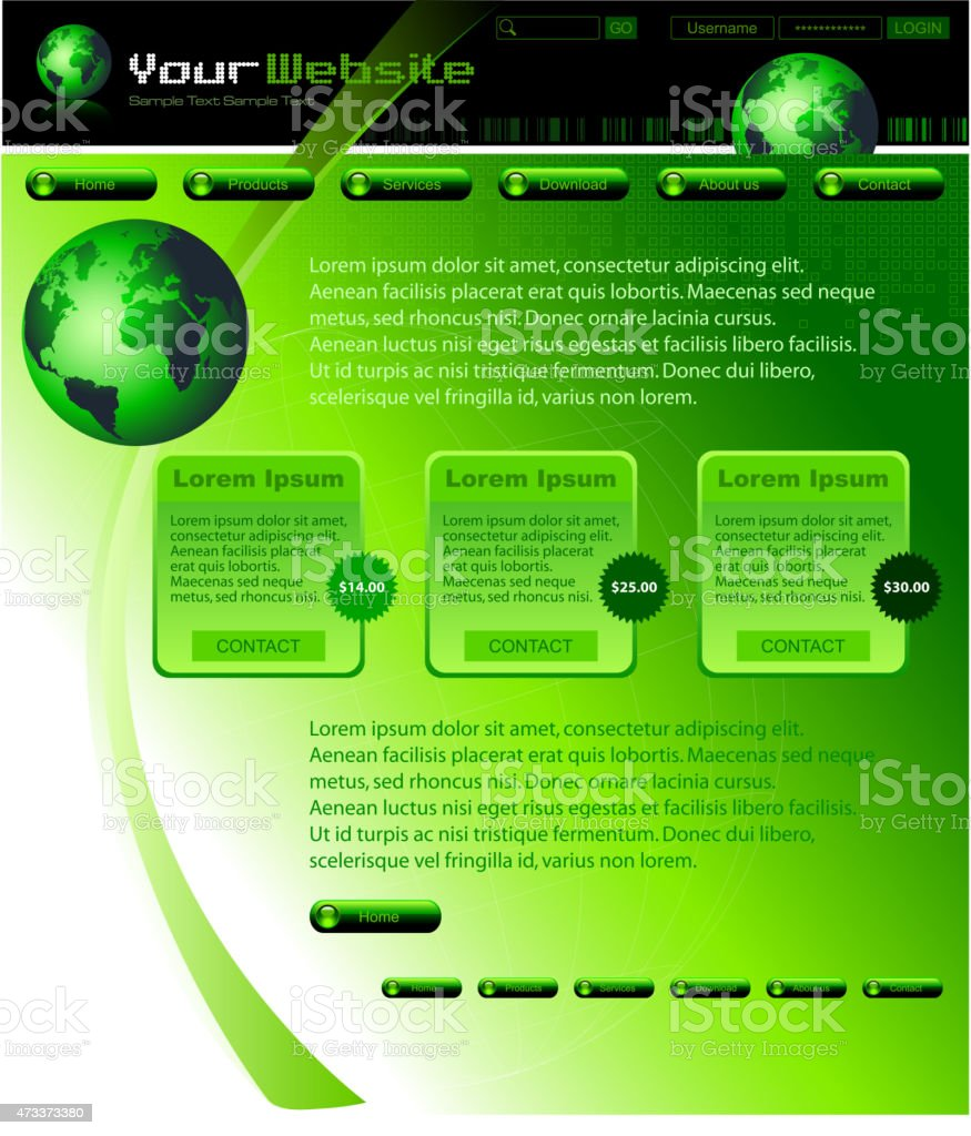 Plantilla de Diseño de sitio web verde illustracion libre de derechos libre de derechos