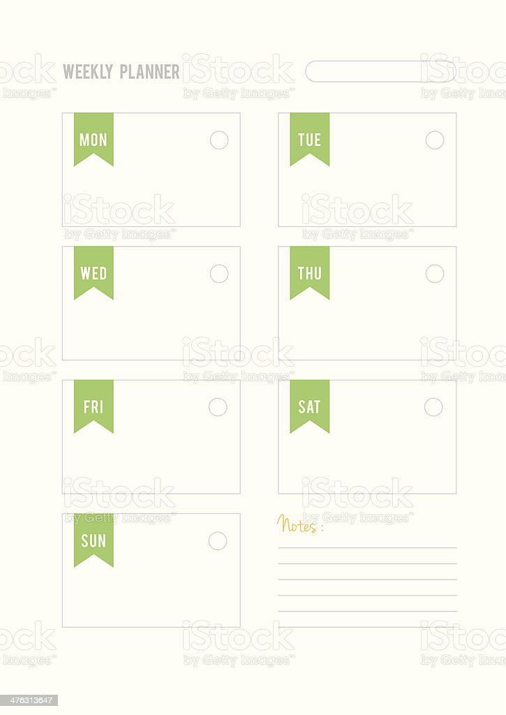 Green weekly planner with notes royalty-free stock vector art
