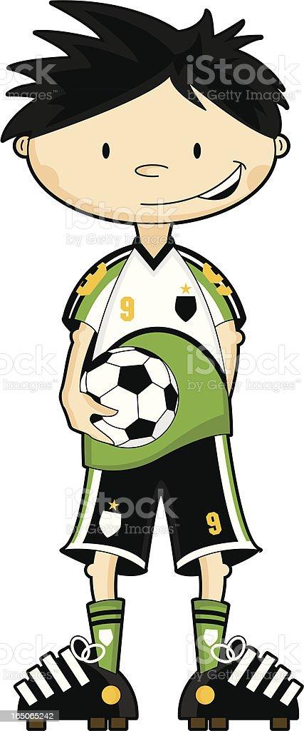 Green & White Strip Soccer Boy Character vector art illustration