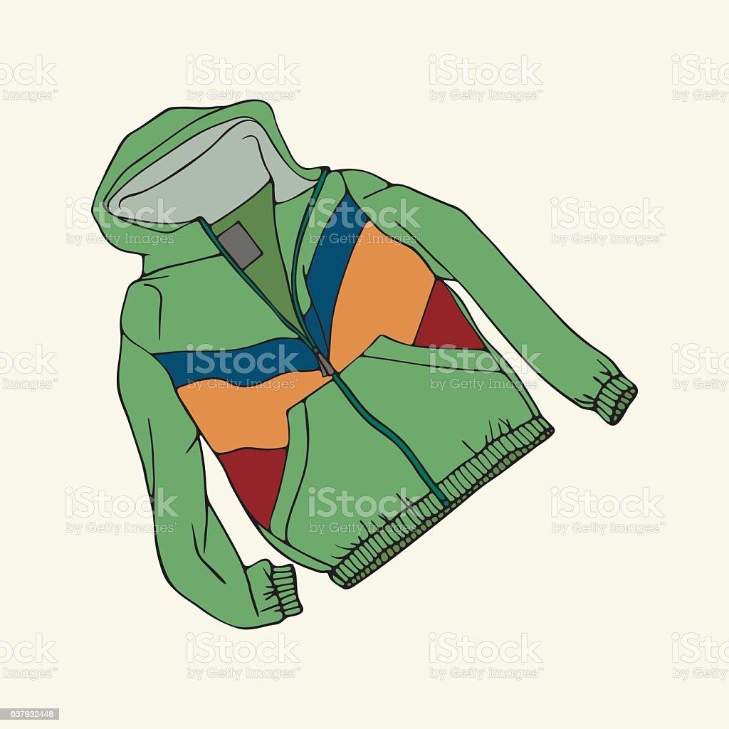Green windcheater vector art illustration