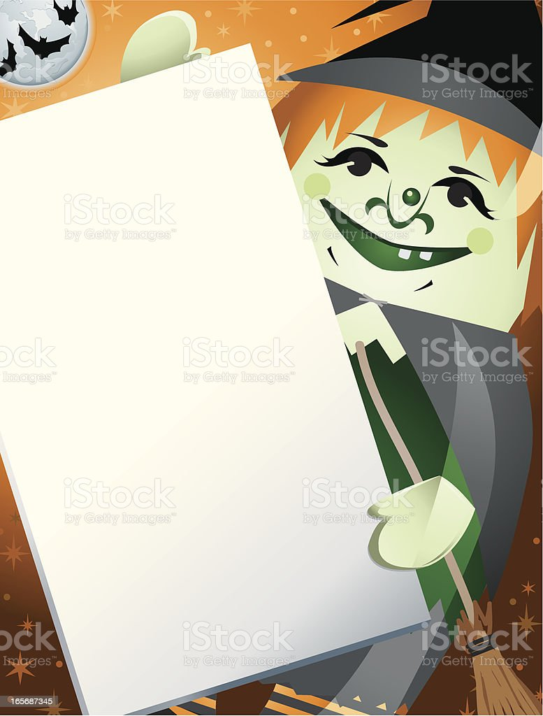 Green Witch Holding a Sign Halloween royalty-free stock vector art