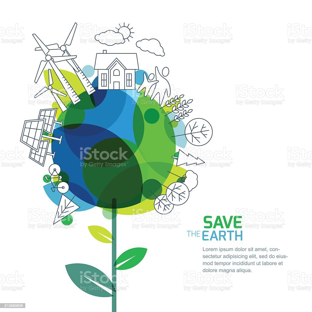 Green world, environment, ecology concept. Design for save earth day. vector art illustration