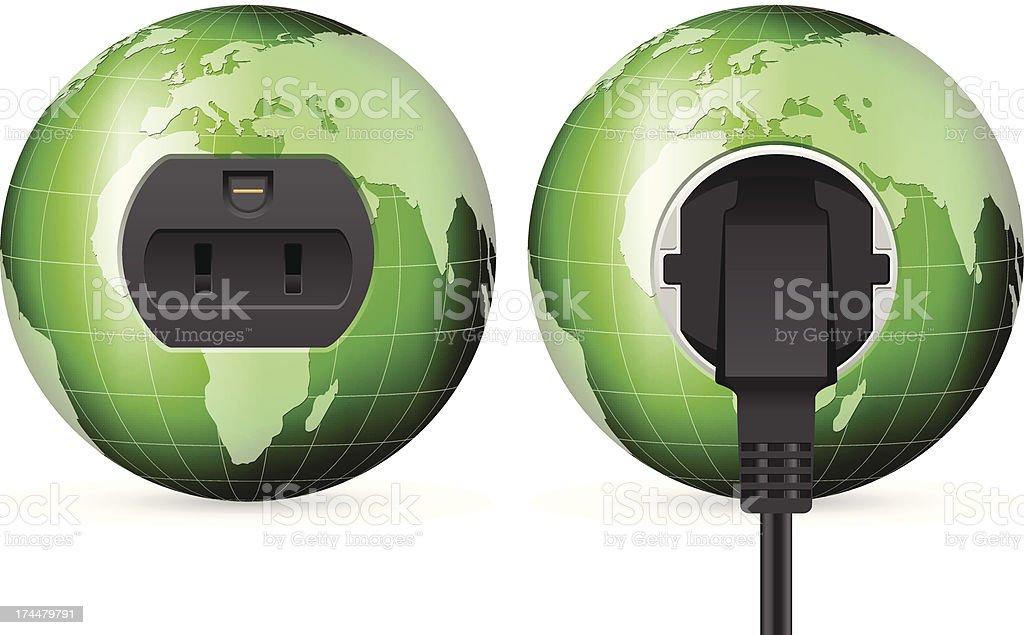 green world globe outlet socket royalty-free stock vector art