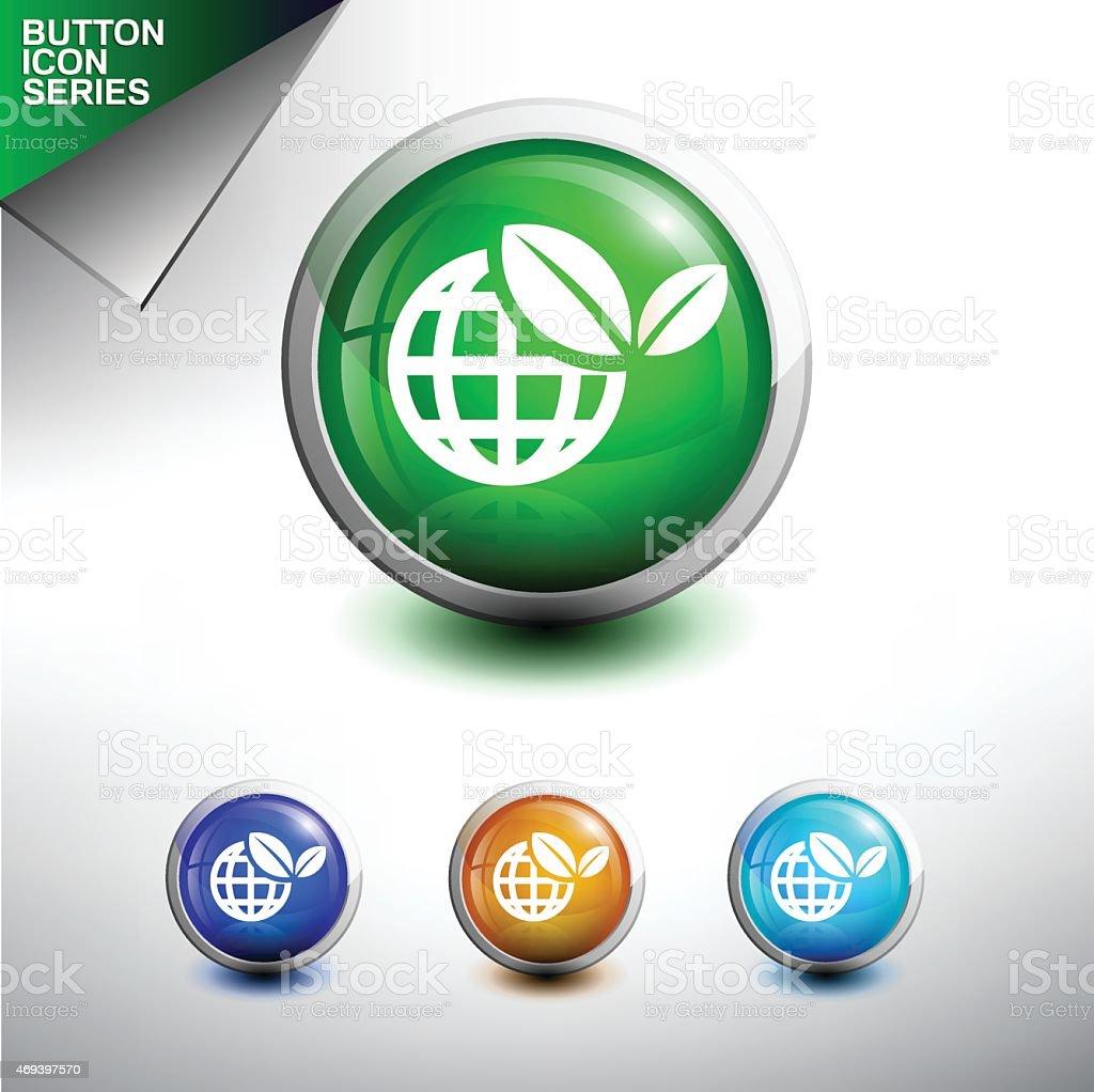 Green World Icon. Glossy Button Icon Set. Vector Illustration vector art illustration