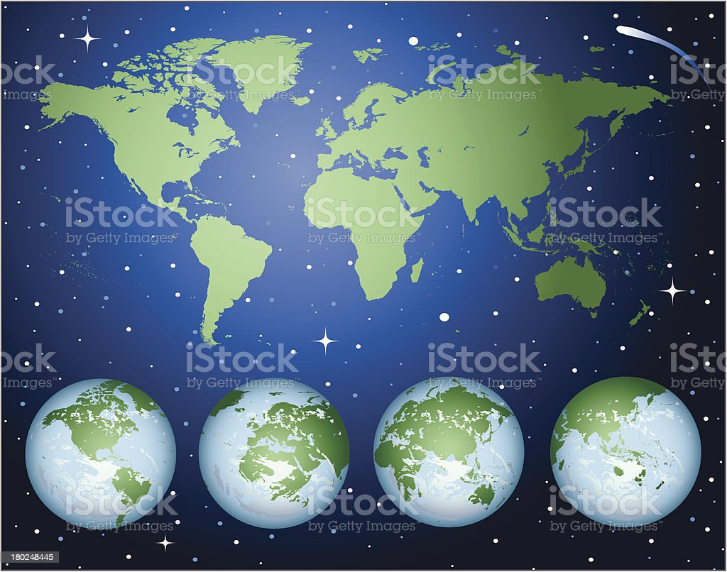 green world map and globes on star field vector art illustration