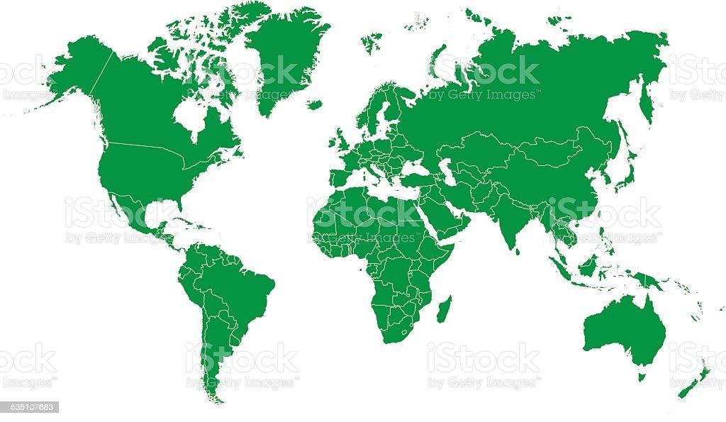 green world map silhouette vector art illustration