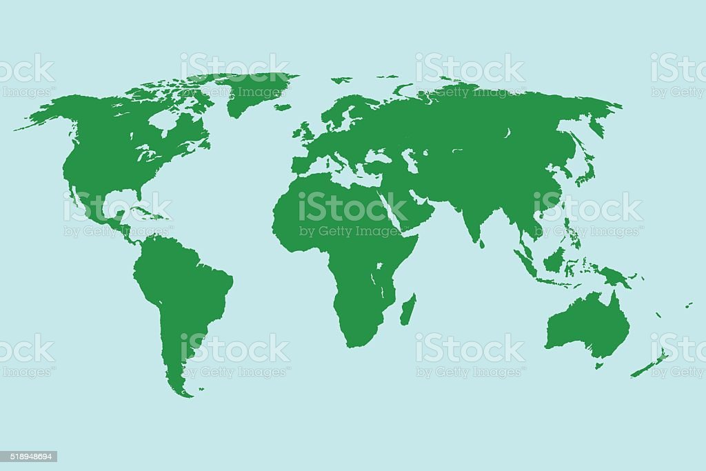 green world map. vector vector art illustration
