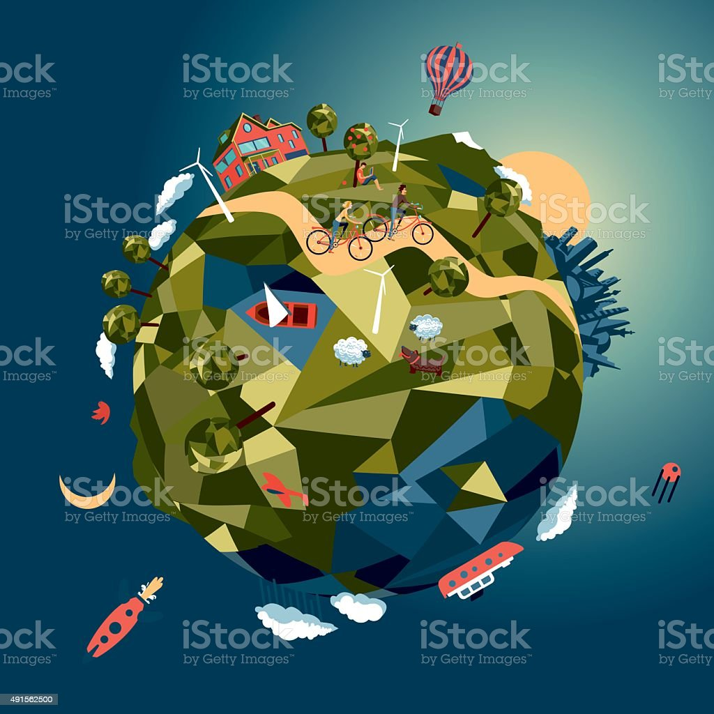 Green world vector art illustration