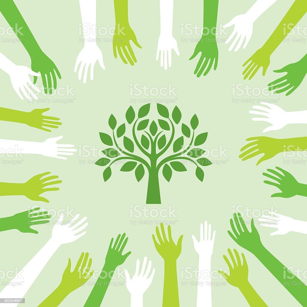 Green world vector art illustration