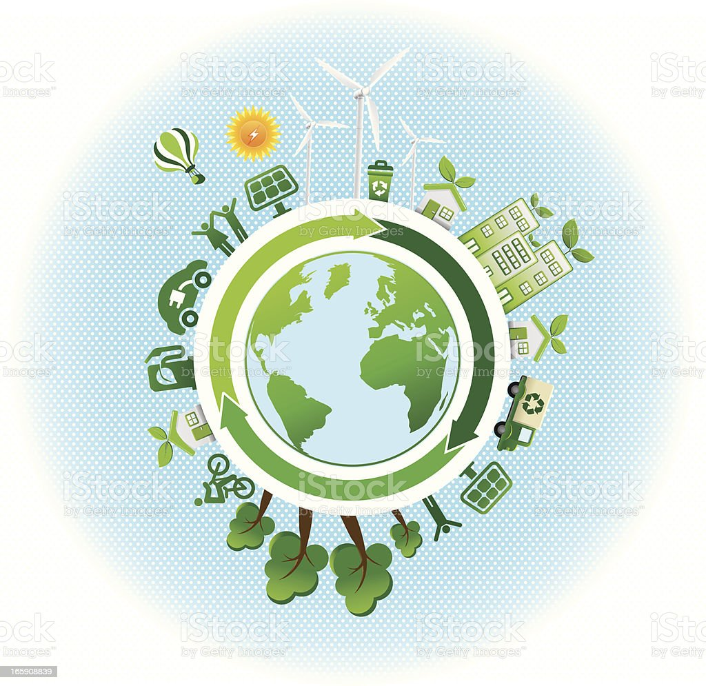 green world with recycle and renewable energy icons royalty-free stock vector art