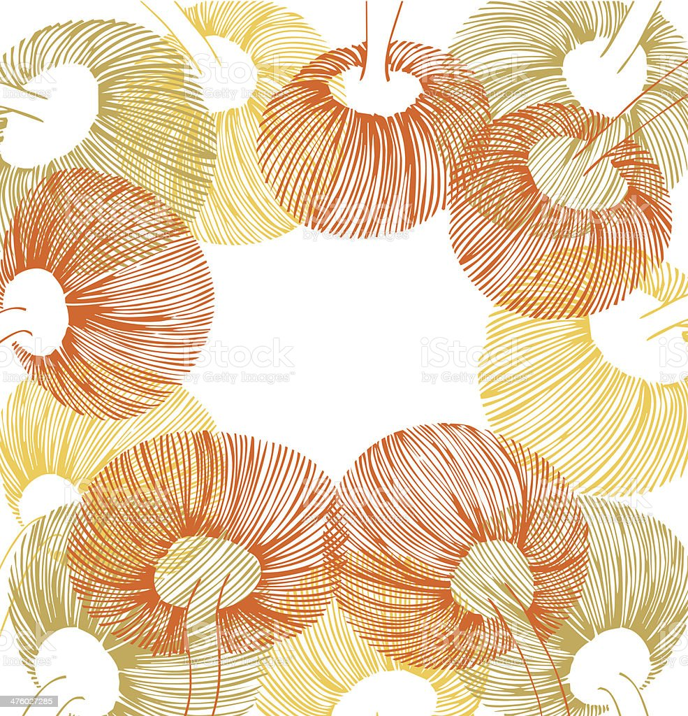 Green, yellow and orange vintage flower element royalty-free stock vector art