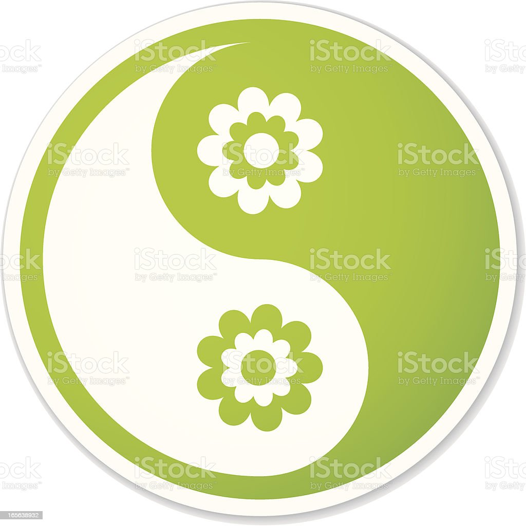 green yin yang round sticker royalty-free stock vector art