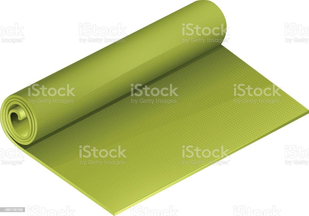 Green yoga mattress roll vector art illustration