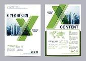 Greenery Brochure Layout flyer design template vector illustration
