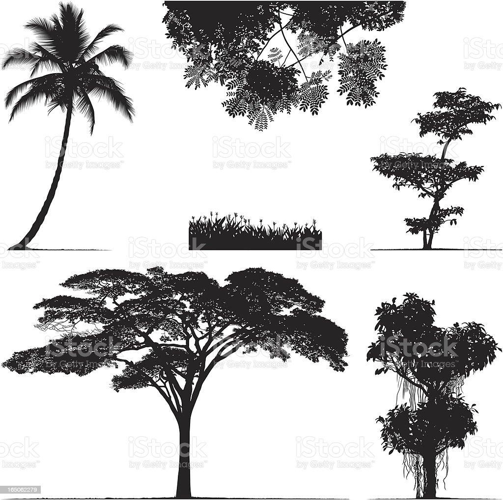 Greenery in Silhouette vector art illustration