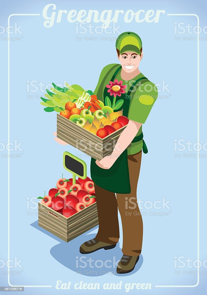 Greengrocer Services People Isometric vector art illustration