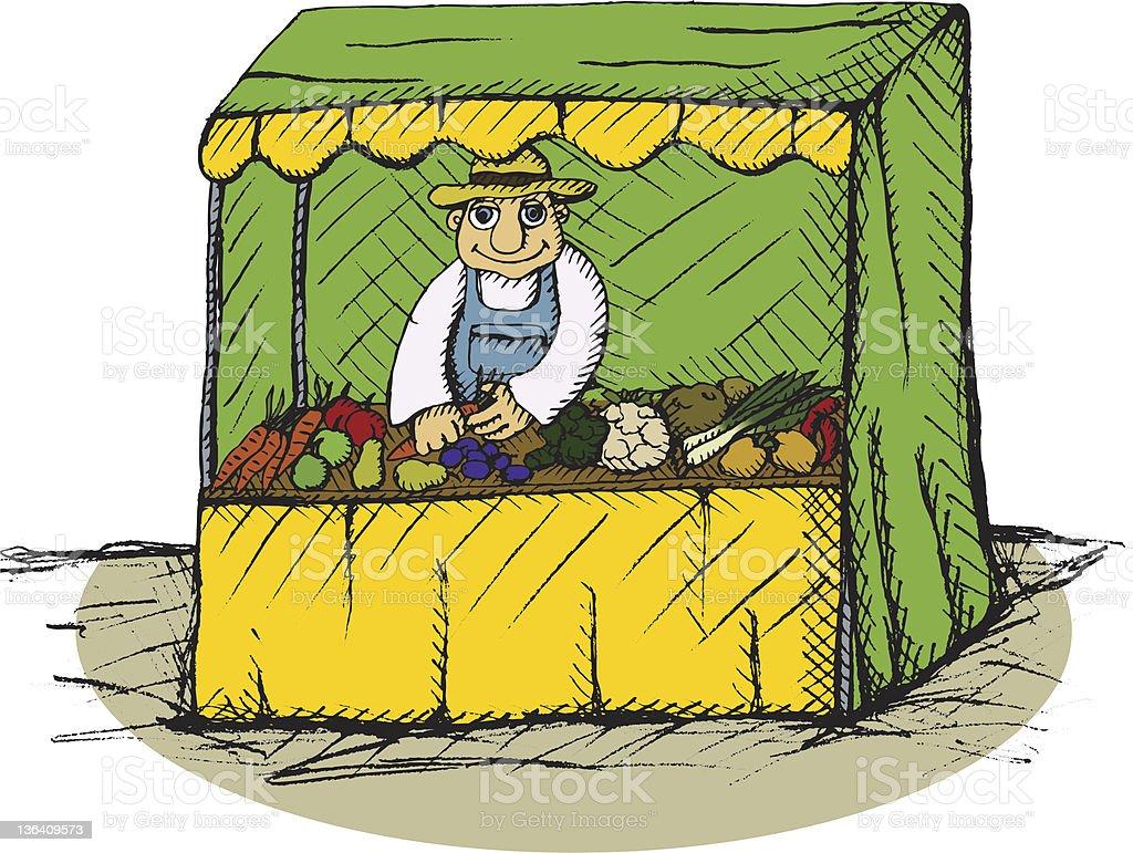 greengrocer vector art illustration