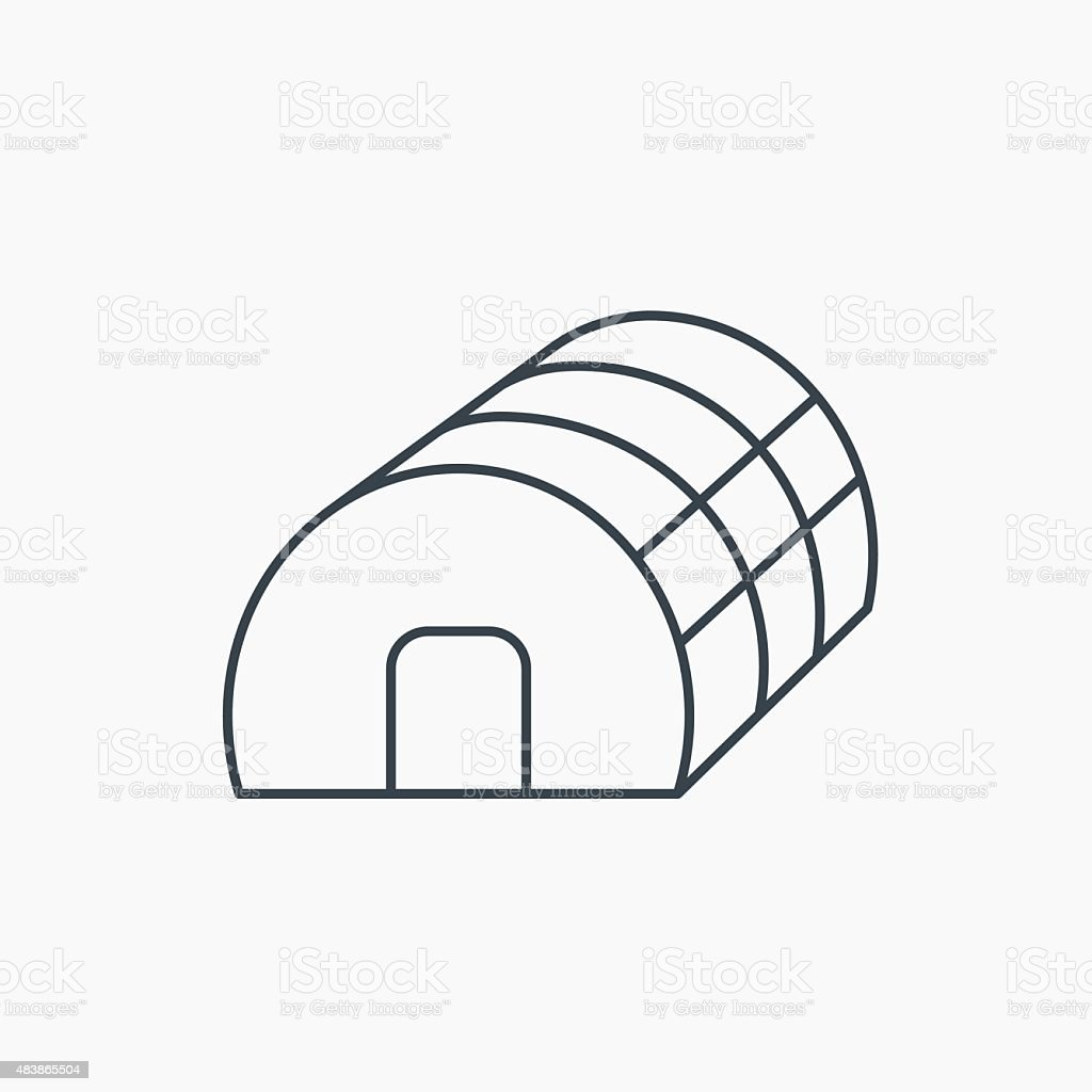 Greenhouse complex icon. Hothouse building sign. vector art illustration