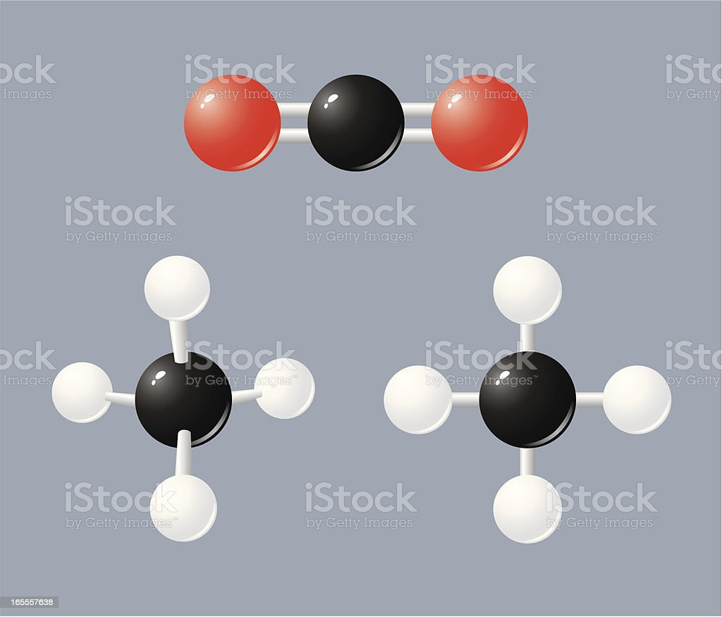 Greenhouse gases: methane and carbon dioxide royalty-free stock vector art