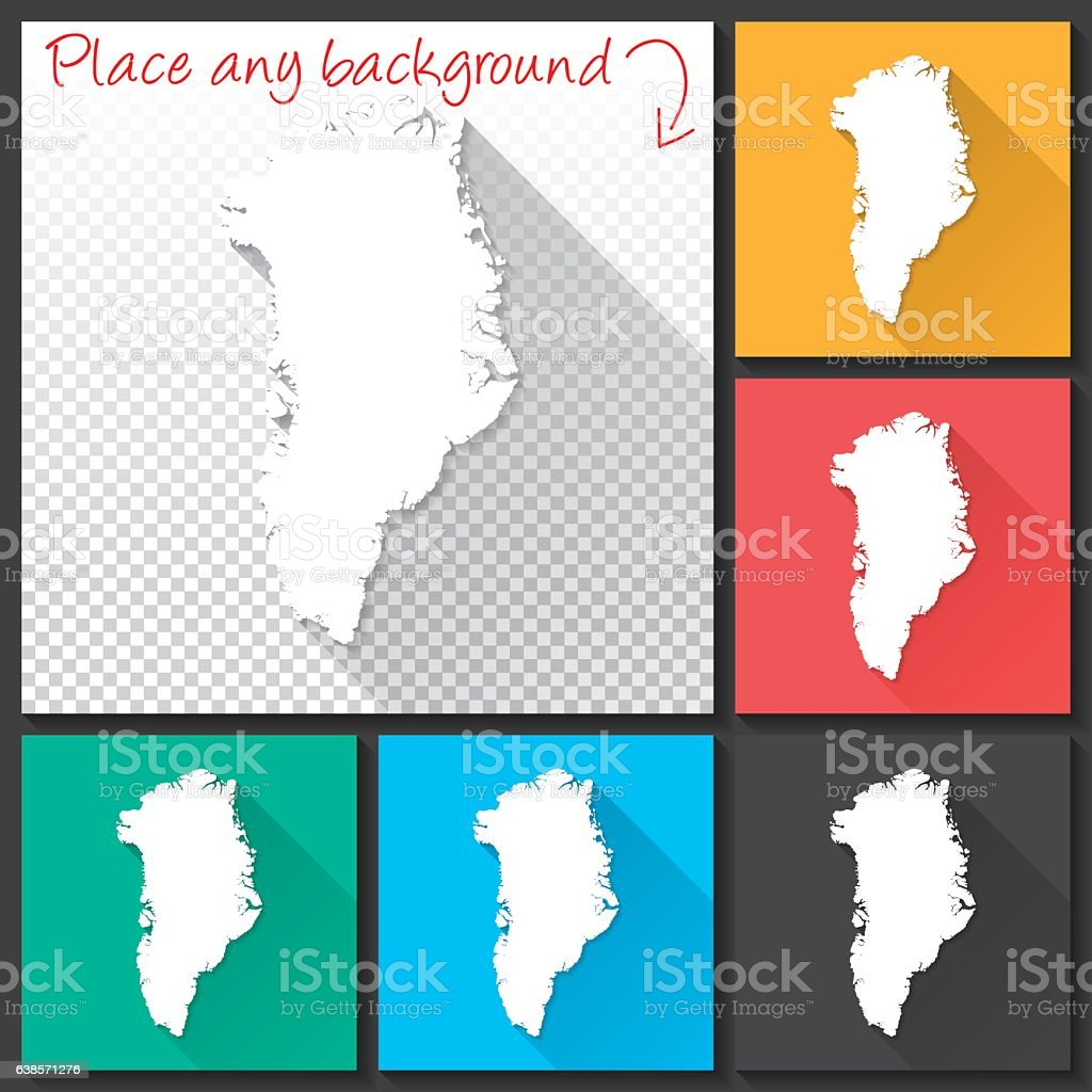 Greenland Map for design, Long Shadow, Flat Design vector art illustration