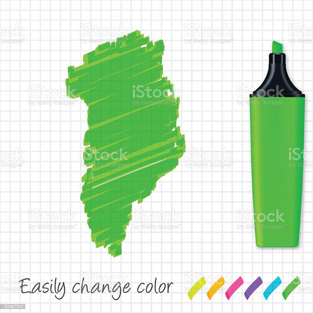 Greenland map hand drawn on grid paper, green highlighter vector art illustration