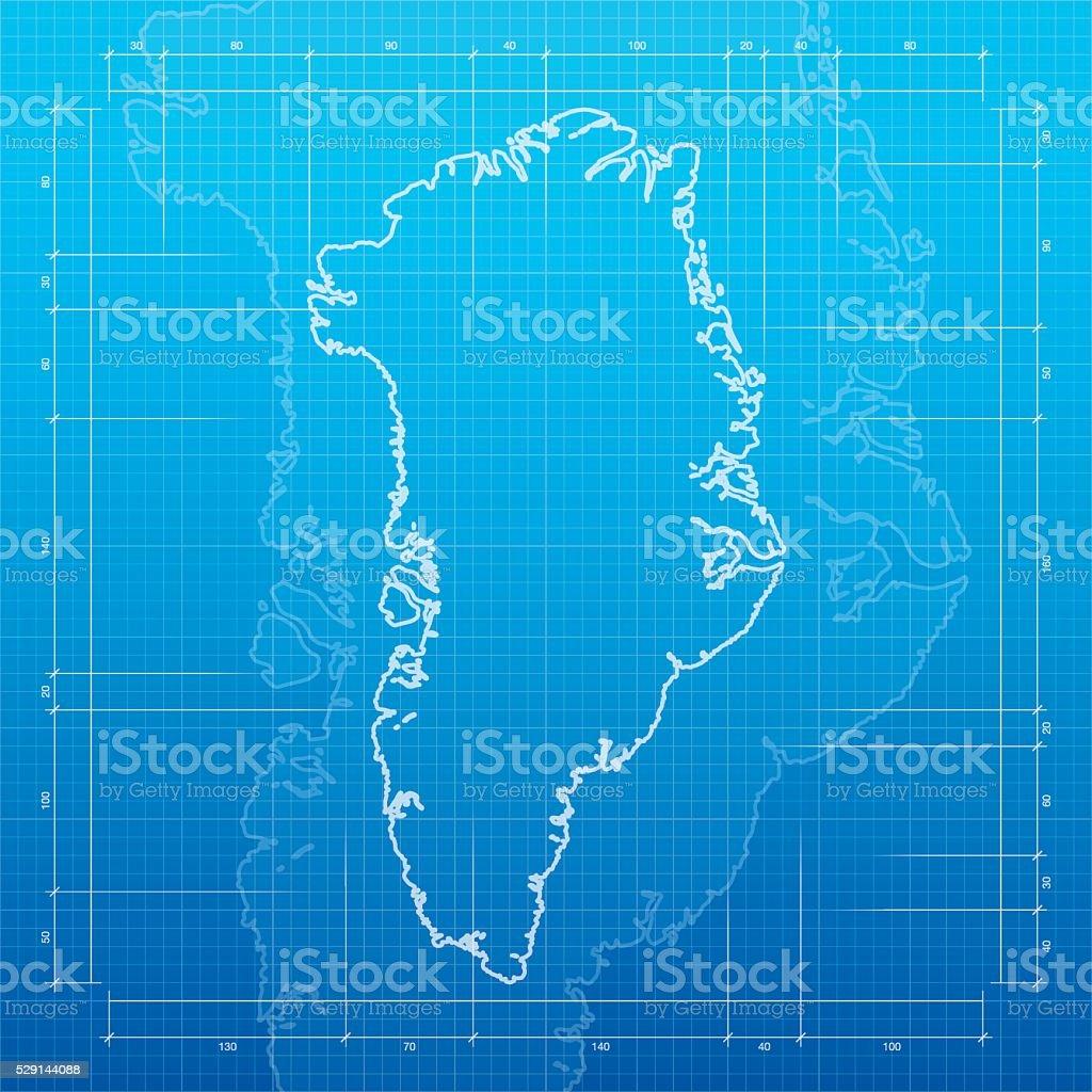 Greenland  map on blueprint background vector art illustration