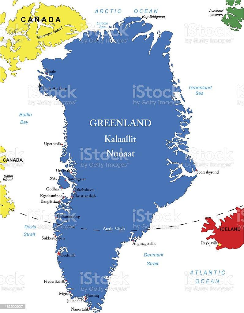Greenland map vector art illustration