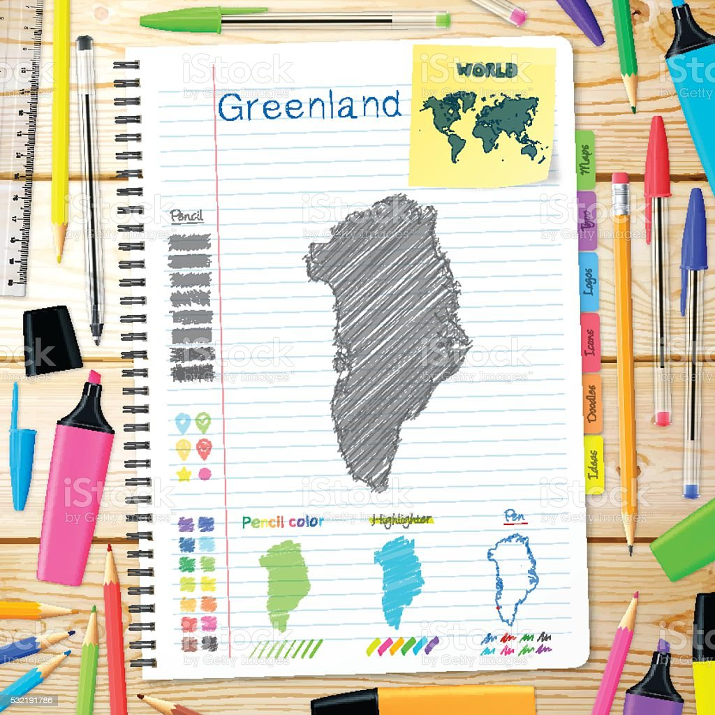 Greenland maps hand drawn on notebook. Wooden Background vector art illustration