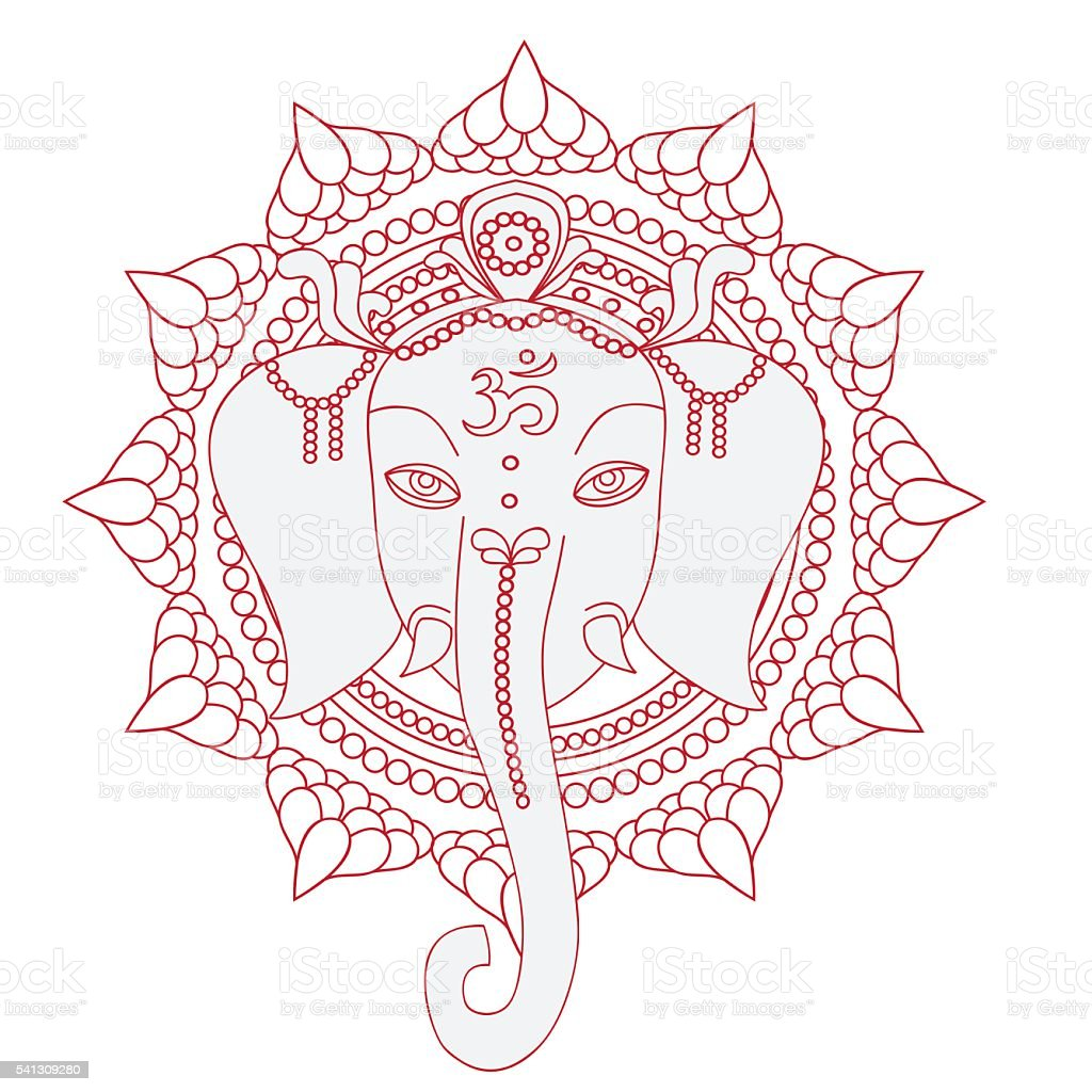 Greeting Beautiful card with Elephant.  Hinduism God Ganesha with mandala. vector art illustration