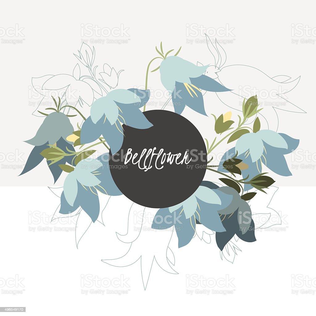 Greeting card bell flower vector art illustration