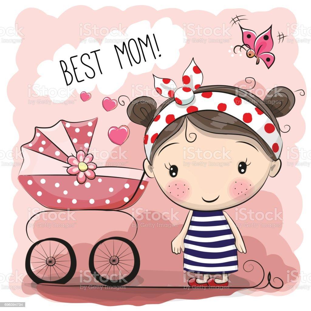 Greeting card Best mom vector art illustration