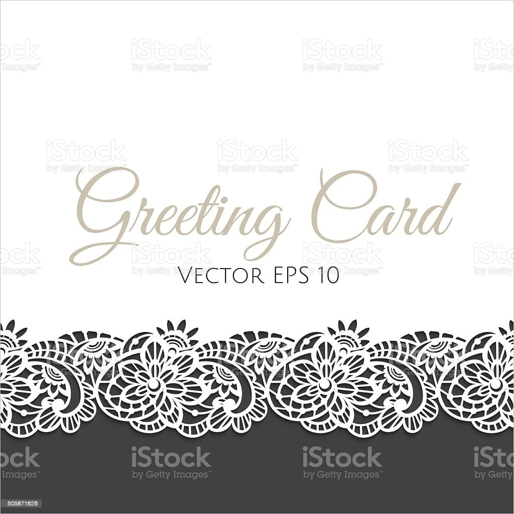 Greeting card decorated with floral lace vector art illustration