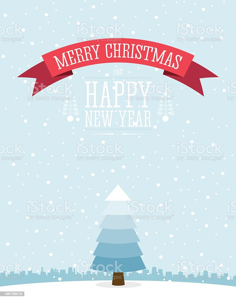Greeting card design with a Christmas tree. vector art illustration