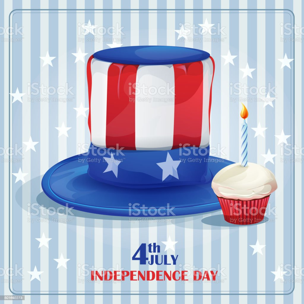 Greeting card for Independence Day on July 4. vector art illustration