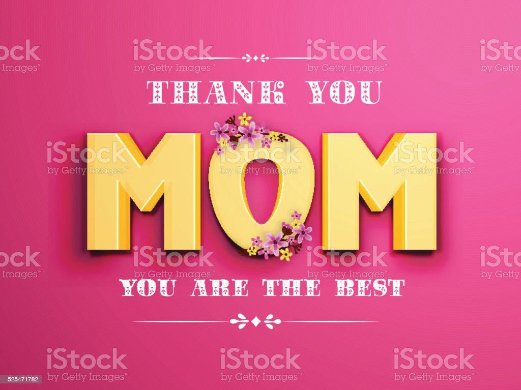 Beautiful greeting card design with 3D golden text Mom on pink...