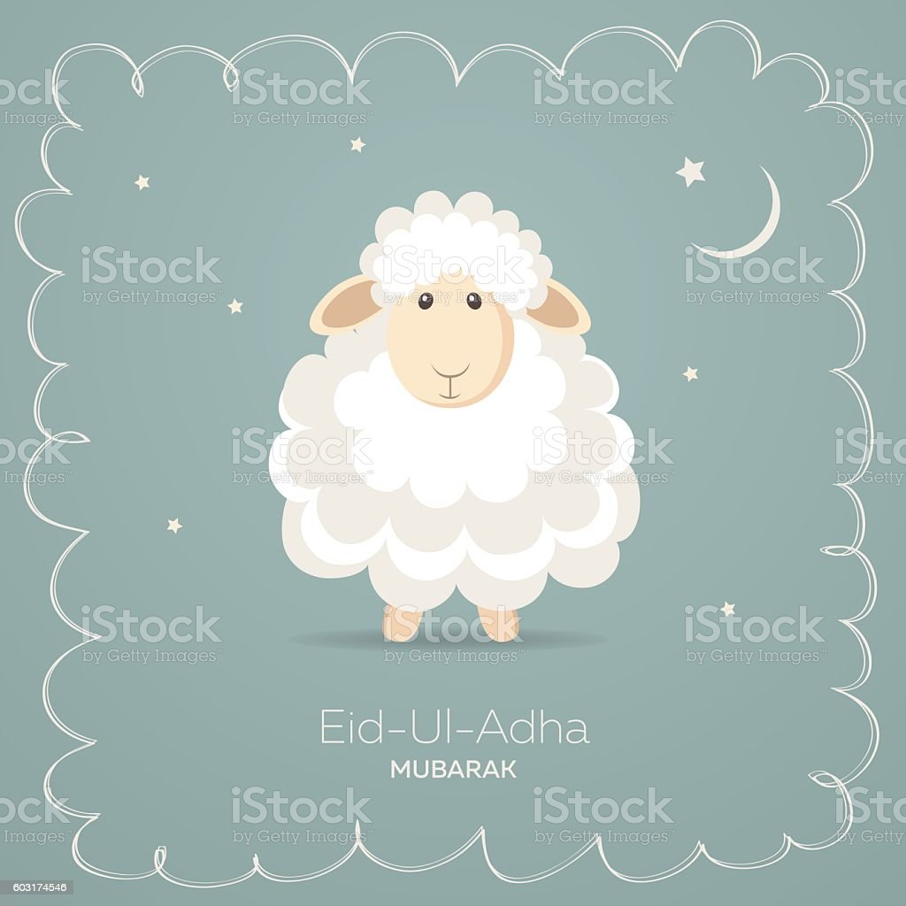 Greeting card for Muslim Community Festival of Sacrifice Eid-Ul-Adha vector art illustration