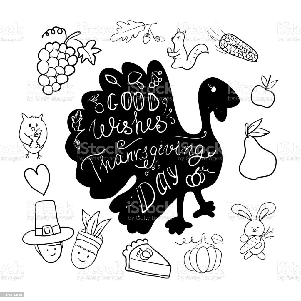 Greeting card for the holiday Thanksgiving with lettering and holiday...