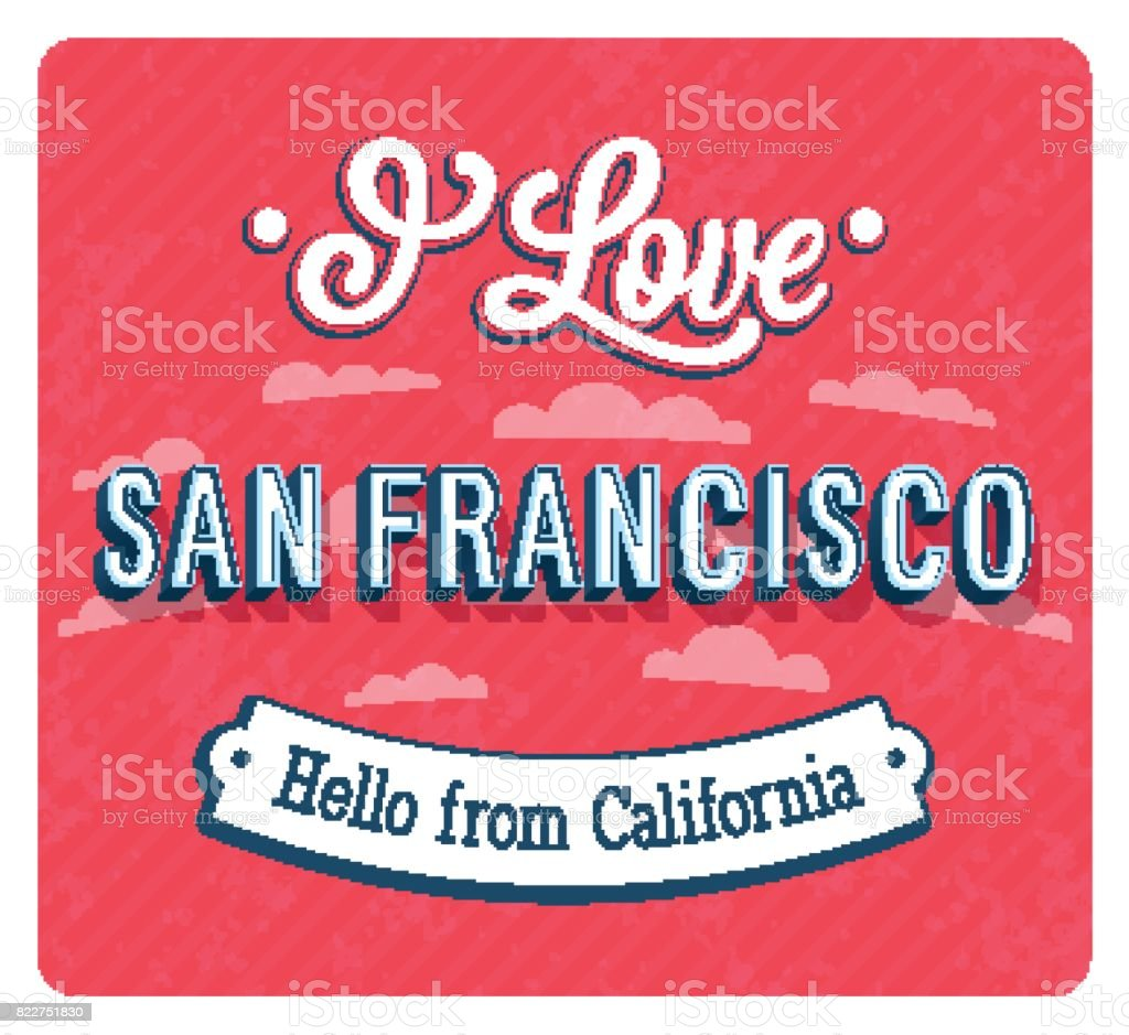 Greeting card from San Francisco - California. vector art illustration