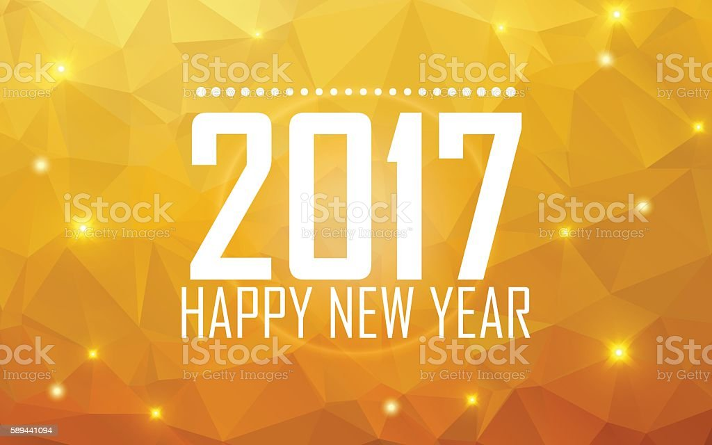 Greeting card Happy New Year 2017. Polygonal background, stars, vector art illustration