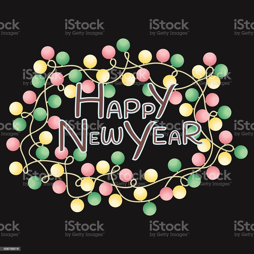 Greeting Card Happy New Year with colorful with lights royalty-free stock vector art