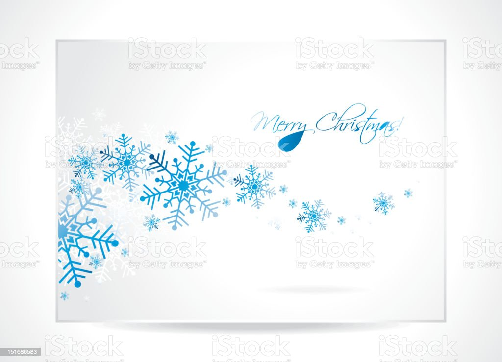 Greeting card illustration with snowflakes on a Christmas theme. royalty-free stock vector art