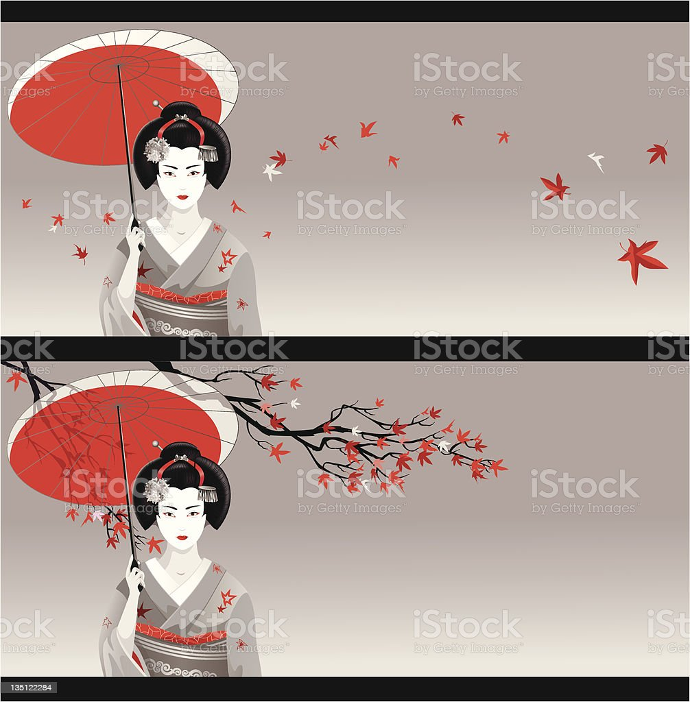 Greeting card in Japanese style vector art illustration