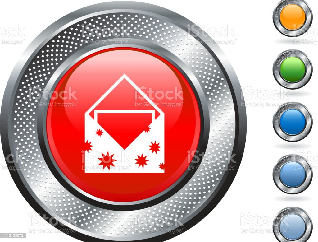 greeting card royalty free vector art on metallic button vector art illustration