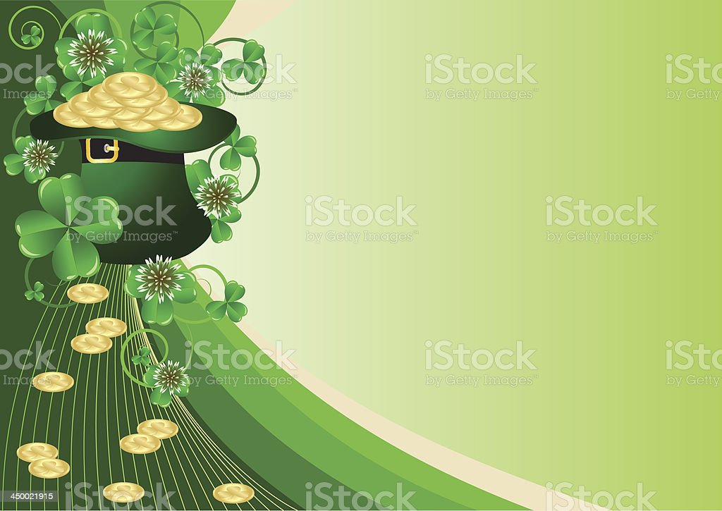 Greeting Card St. Patrick's Day with clover royalty-free stock vector art