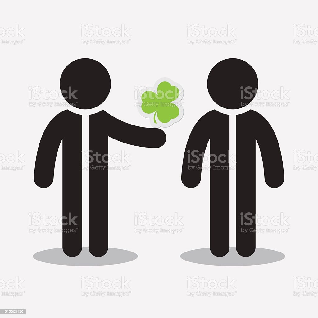 greeting card - two figures and shamrock vector art illustration