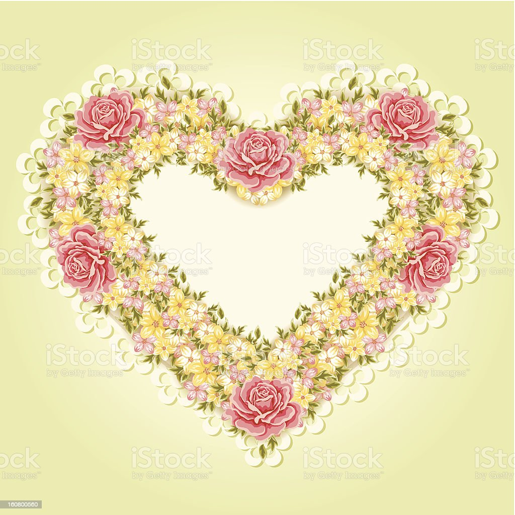 Greeting card. Valentine's day background. Heart of flowers royalty-free stock vector art