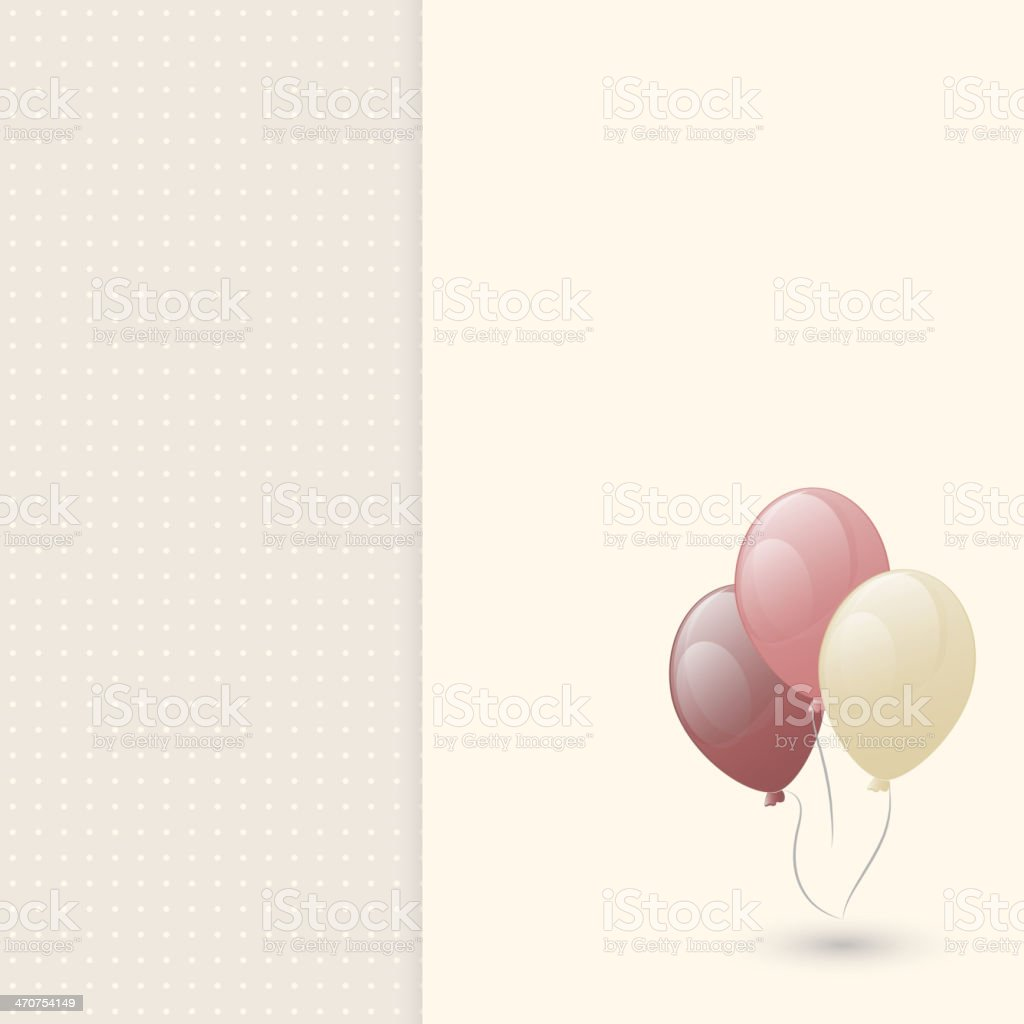 Greeting card with balloon vector art illustration
