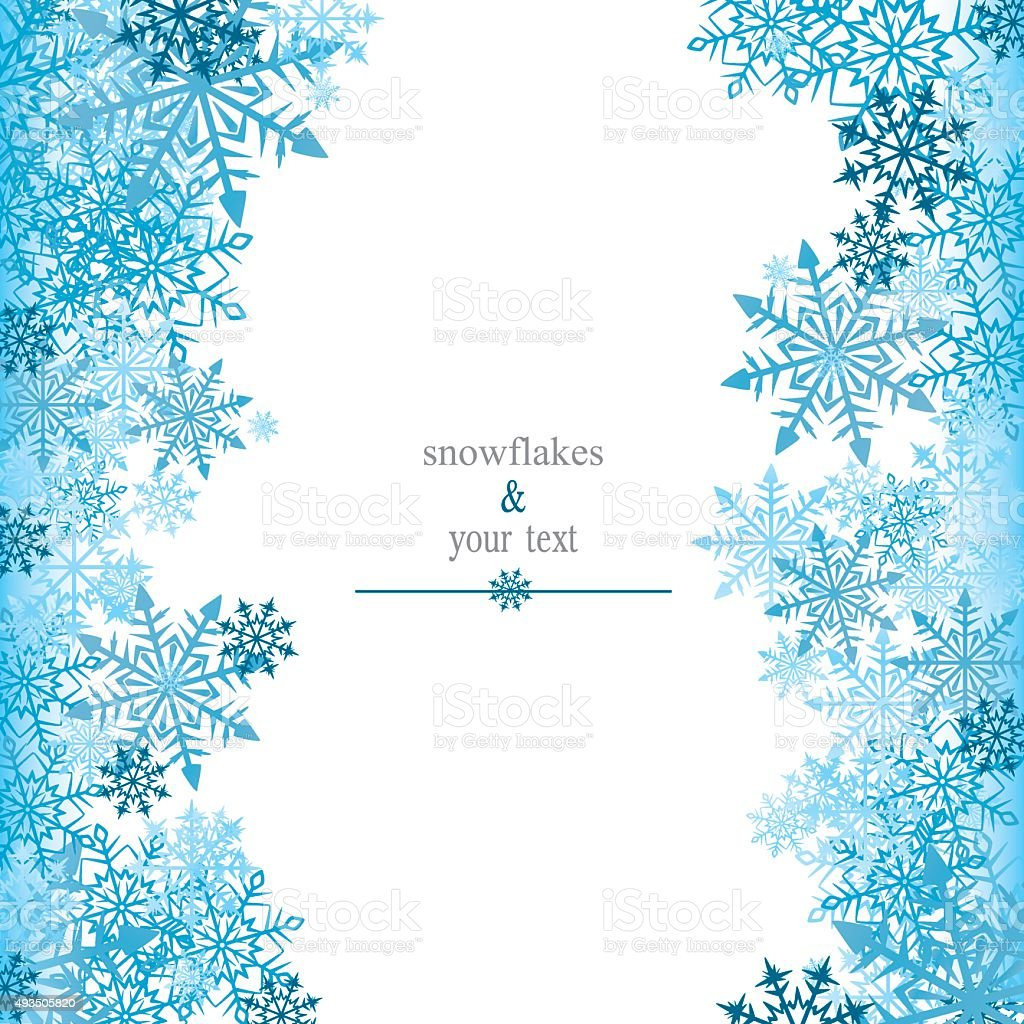greeting card with blue snowflakes vector art illustration