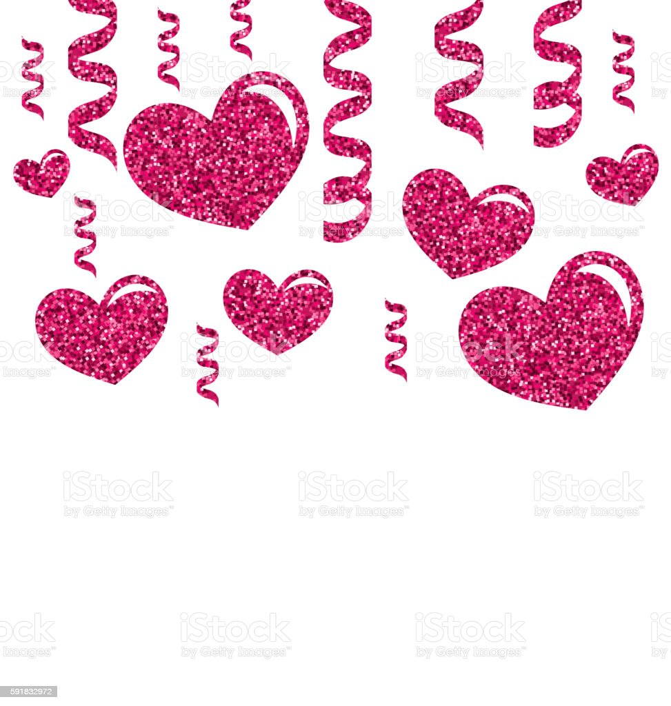 Greeting Card with Bright Hearts for Valentines Day vector art illustration