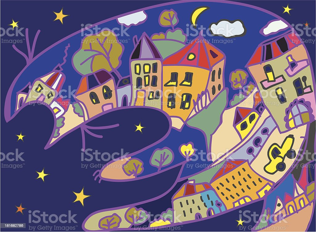 Greeting card with cat and night town royalty-free stock vector art